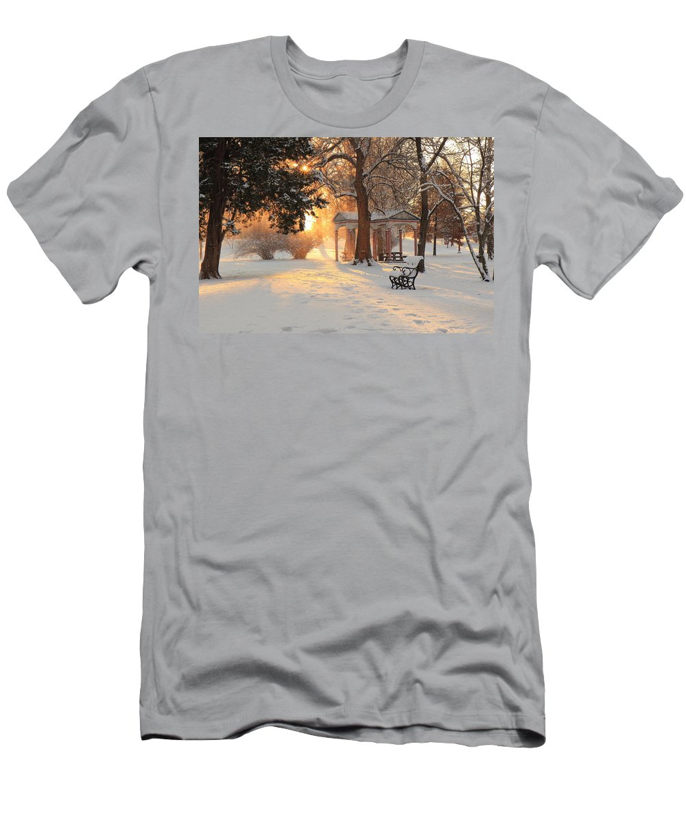 Tower Grove Men's T-Shirt (Athletic Fit) featuring the photograph Cypress South Shelter by Scott Rackers