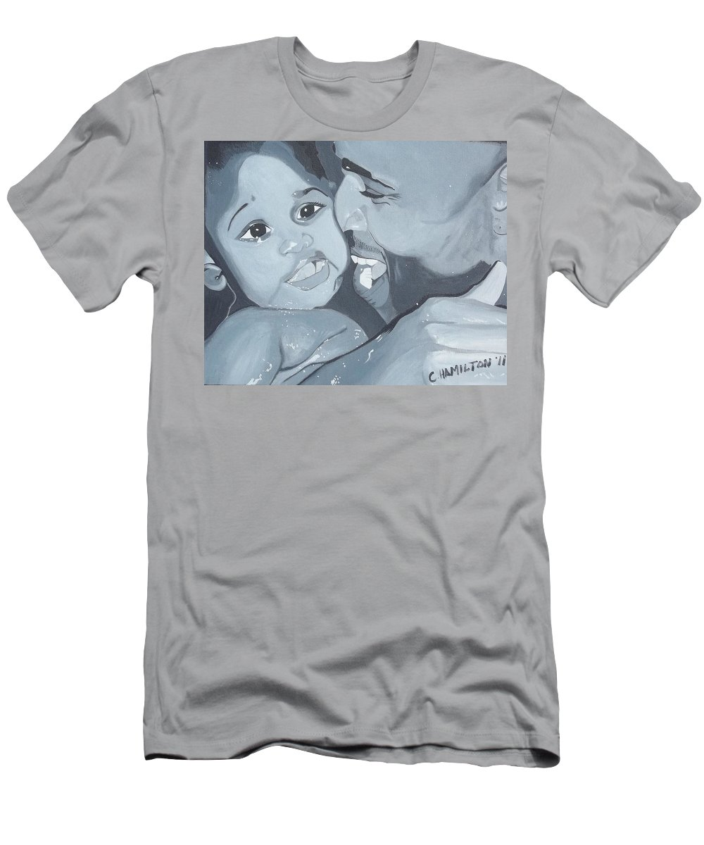 Black Male Men's T-Shirt (Athletic Fit) featuring the painting Daddy's Girl by Christine Hamilton Kourou
