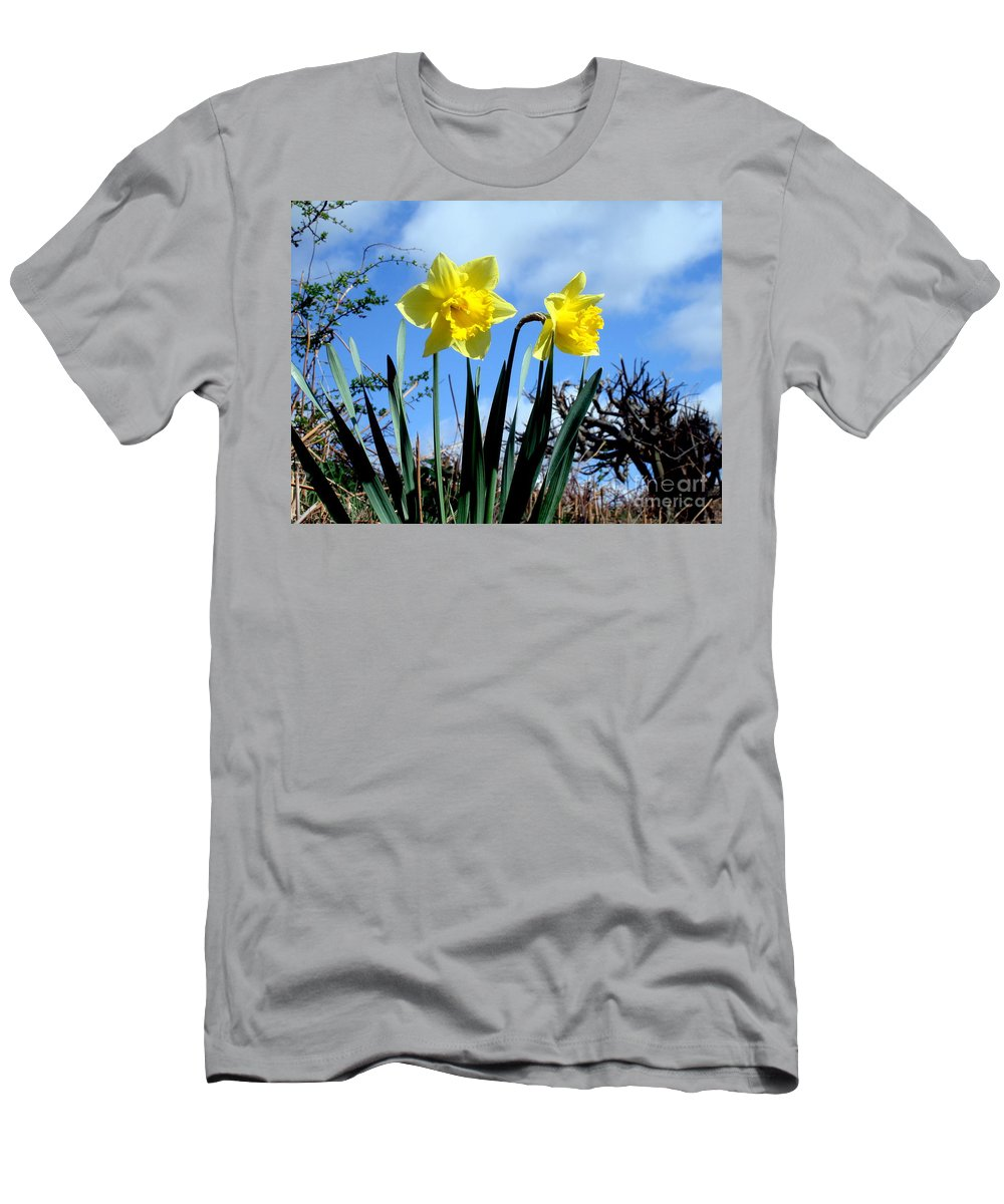 Daffodils Men's T-Shirt (Athletic Fit) featuring the photograph Daffodils 2 by John Chatterley