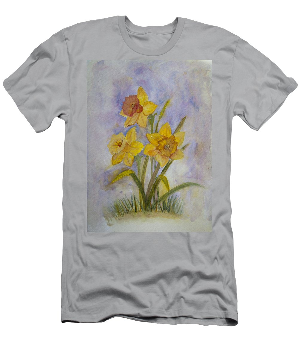 Daffodils Men's T-Shirt (Athletic Fit) featuring the painting Daffodils by Donna Walsh