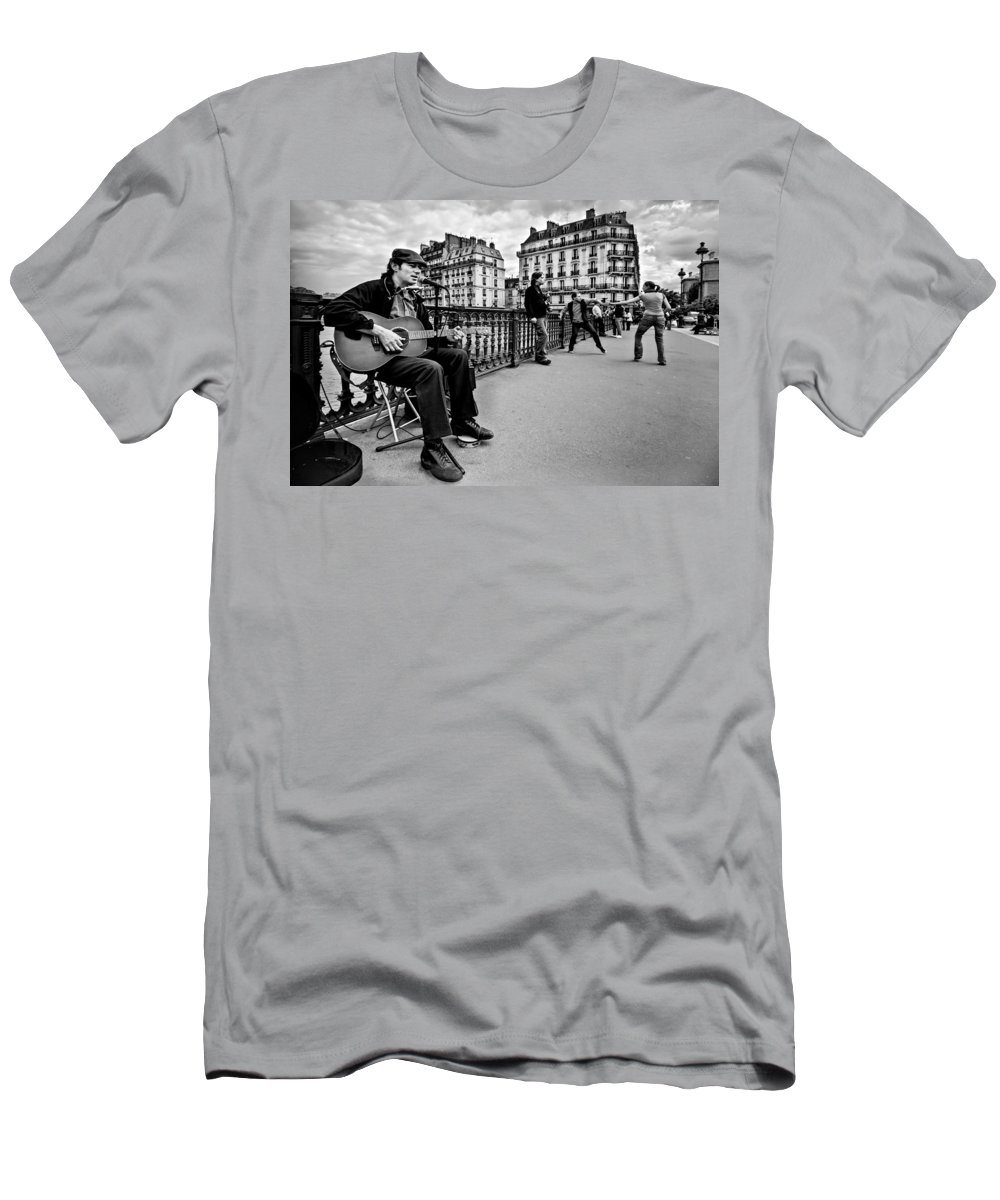 Dancing Men's T-Shirt (Athletic Fit) featuring the photograph Dancing In The Streets Of Paris / Paris by Barry O Carroll