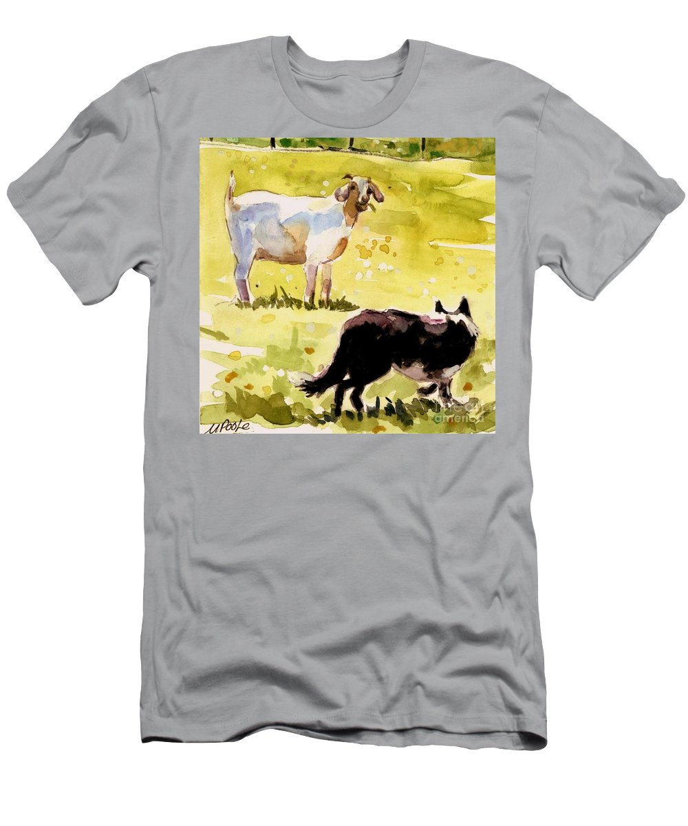 Goat Men's T-Shirt (Athletic Fit) featuring the painting Dandelion Greens by Molly Poole