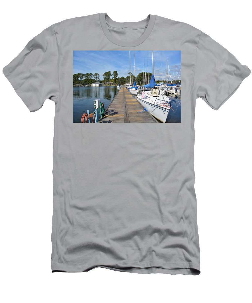 Wall Decor Men's T-Shirt (Athletic Fit) featuring the photograph Sailboats On The Boardwalk by Barb Dalton