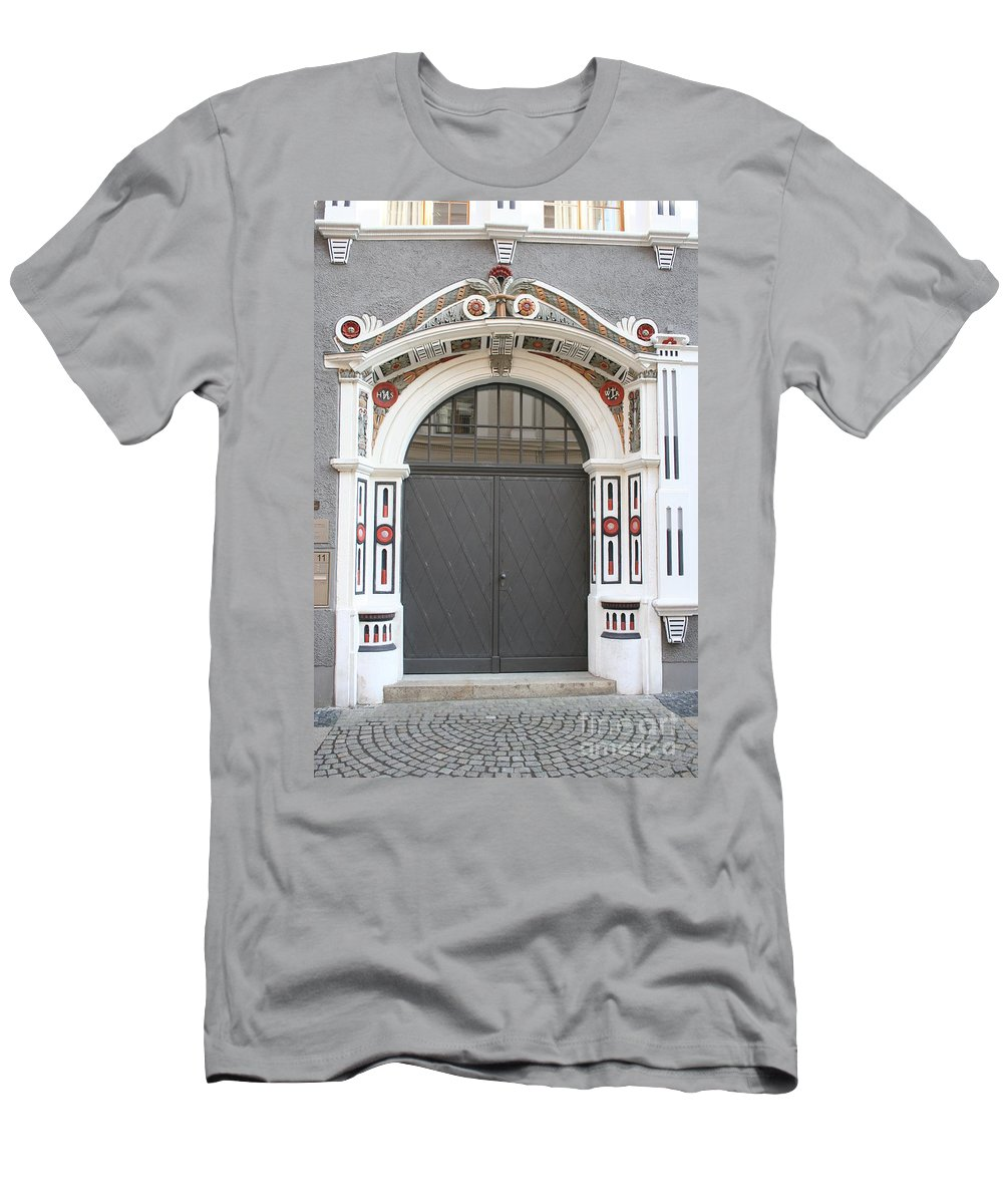 Door Men's T-Shirt (Athletic Fit) featuring the photograph Decorated Old Door by Christiane Schulze Art And Photography