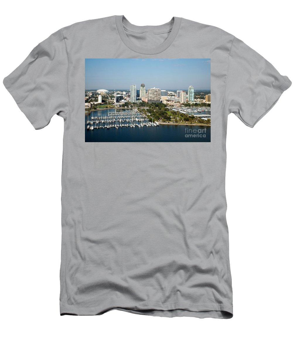 Demens Landing Park Men's T-Shirt (Athletic Fit) featuring the photograph Demens Landing St Petersburg by Bill Cobb