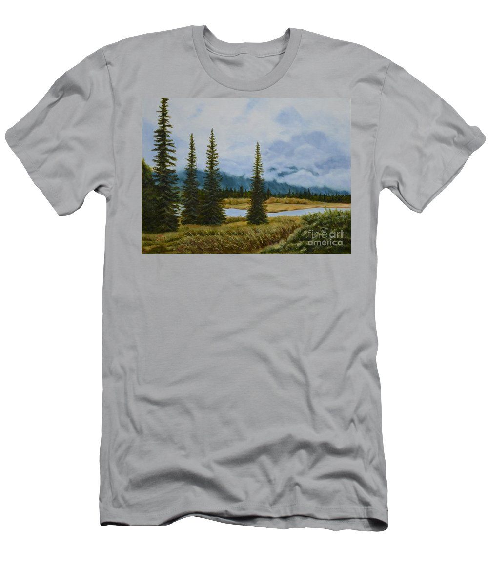 Usa Men's T-Shirt (Athletic Fit) featuring the painting Denali Morning by Mary Rogers