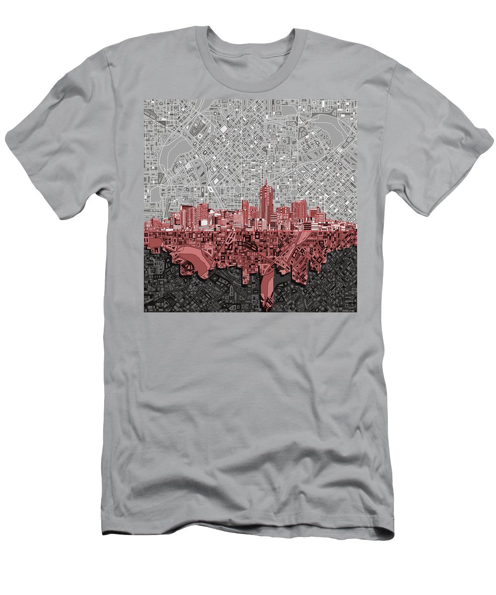 Denver Skyline Men's T-Shirt (Athletic Fit) featuring the painting Denver Skyline Abstract 2 by Bekim Art