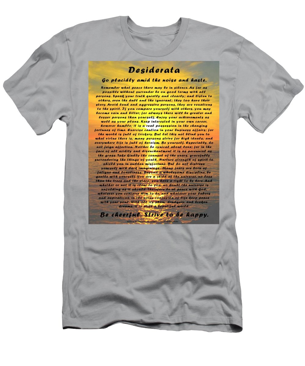 Desiderata Men's T-Shirt (Athletic Fit) featuring the digital art Desiderata Pismo Beach Golden Sunset by Max Ehrmann