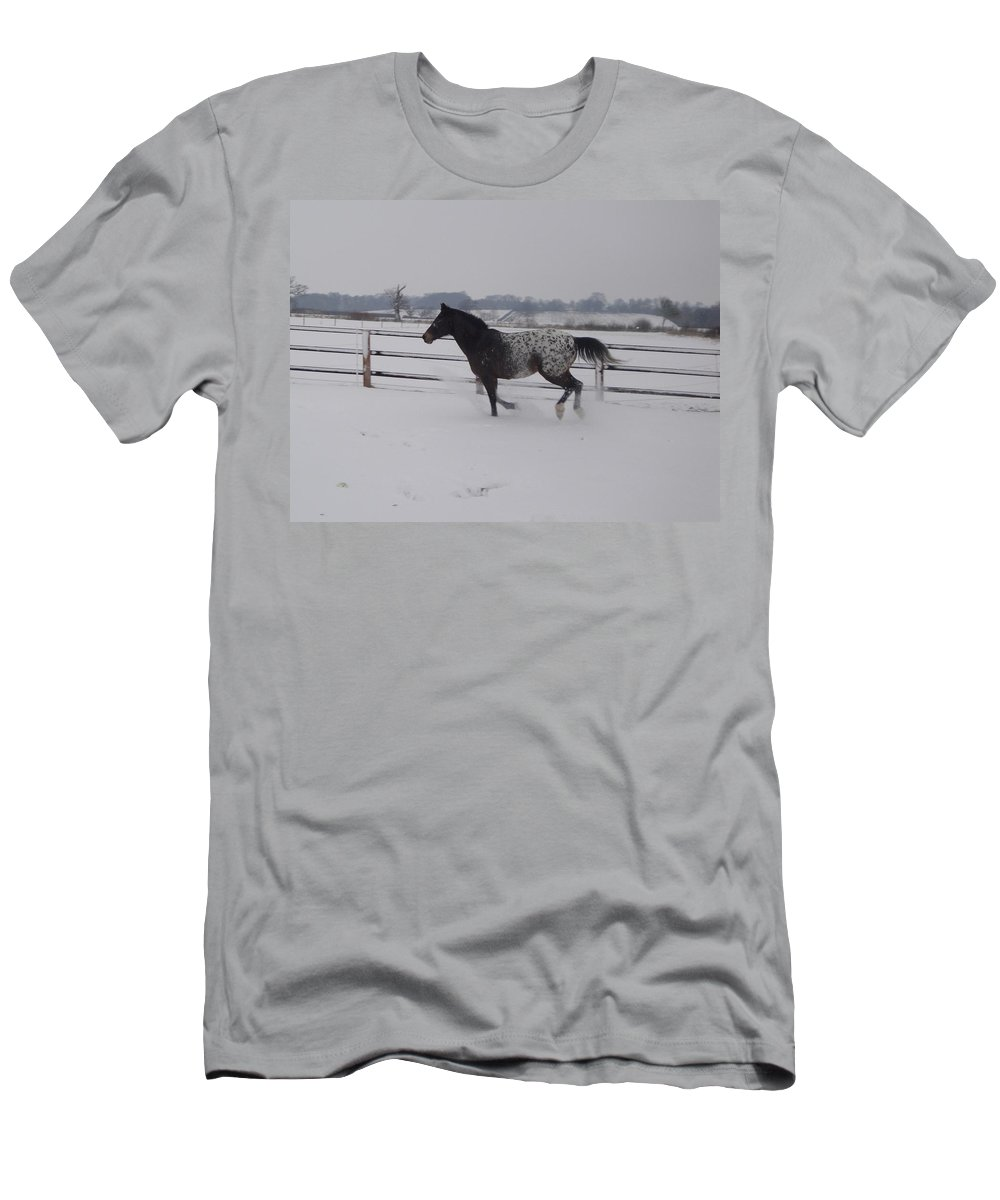 Snow Men's T-Shirt (Athletic Fit) featuring the photograph Diamond Appaloosa In The Snow by Susan Baker