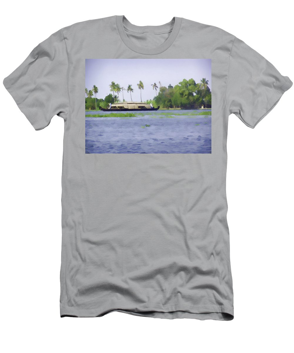 Backwater Men's T-Shirt (Athletic Fit) featuring the digital art Digital Oil Painting - A Houseboat On Its Quiet Sojourn Through The Backwaters Of Allep by Ashish Agarwal