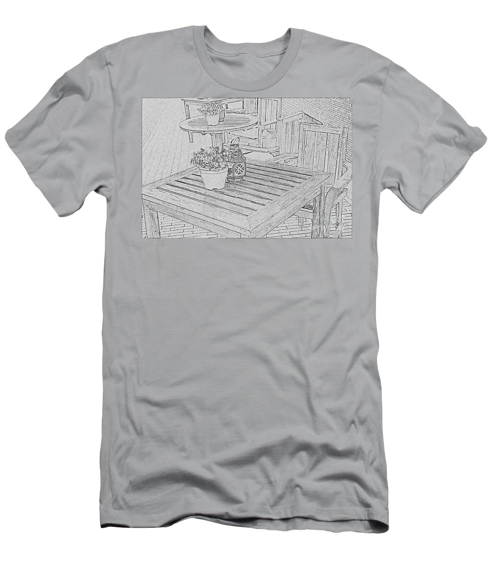 Table Men's T-Shirt (Athletic Fit) featuring the photograph Dining On The Street by Elvis Vaughn