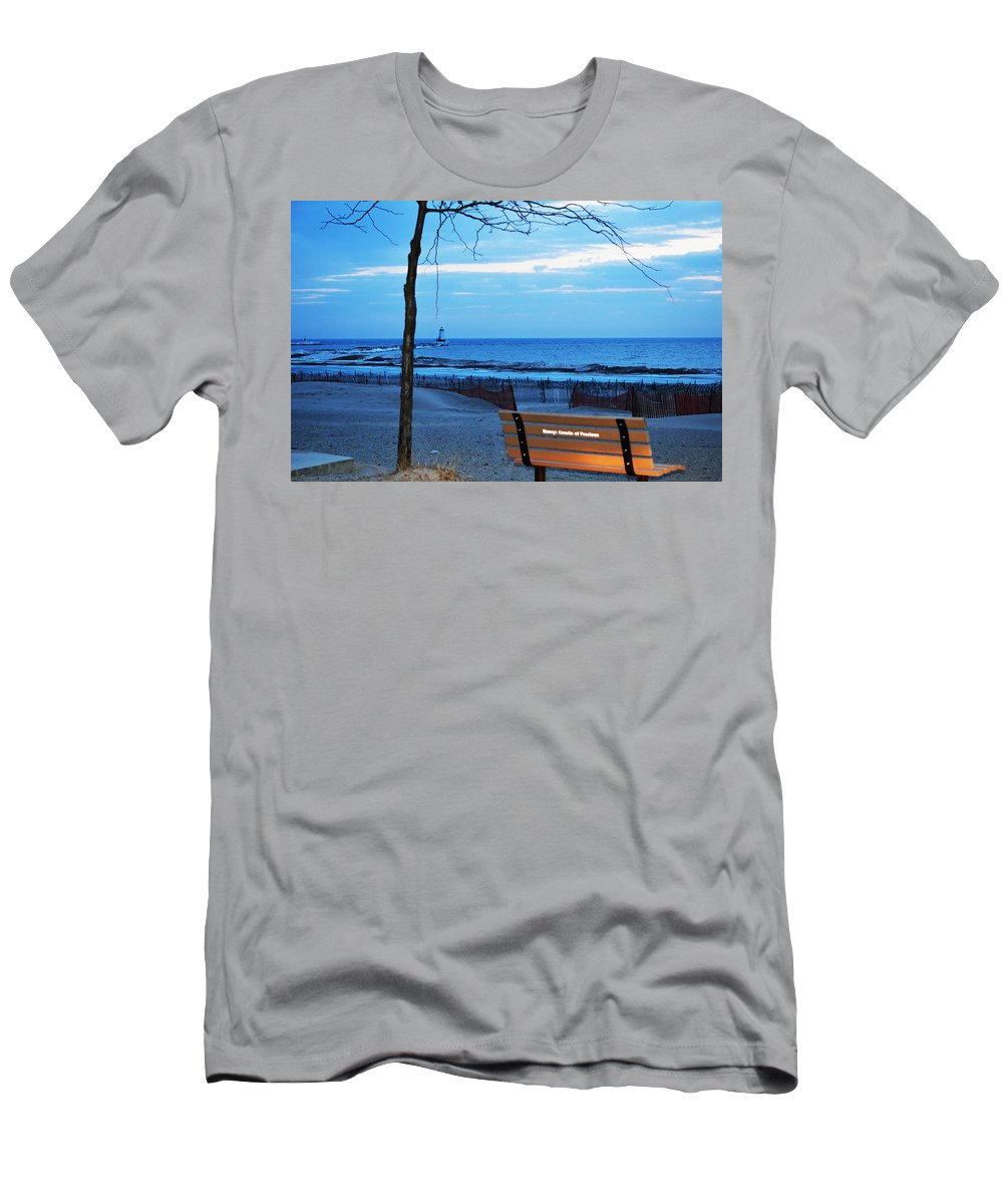 Bench Men's T-Shirt (Athletic Fit) featuring the photograph Distant Lighthouse by Linda Kerkau
