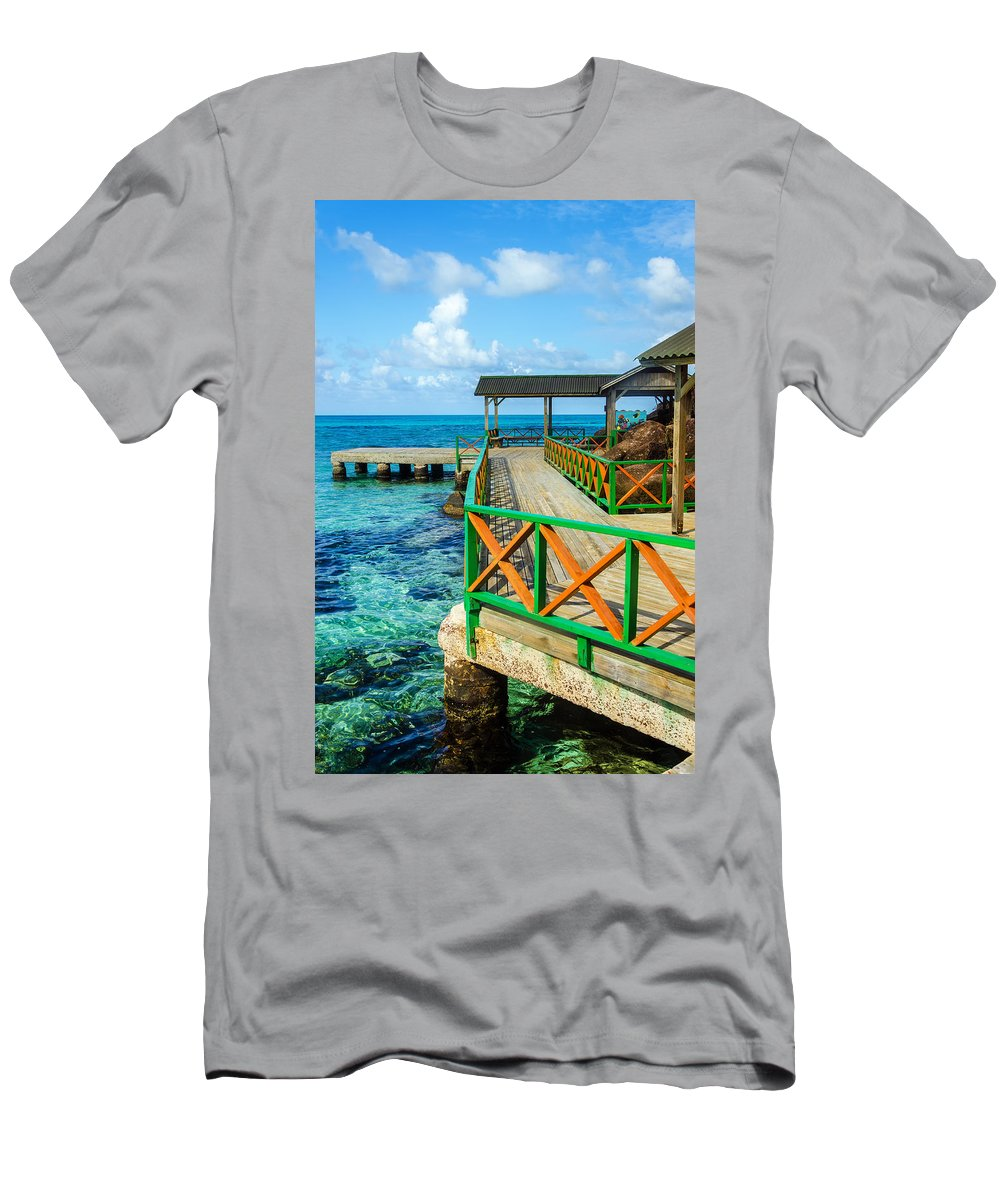 Bay Men's T-Shirt (Athletic Fit) featuring the photograph Dock And Tropical Water by Jess Kraft