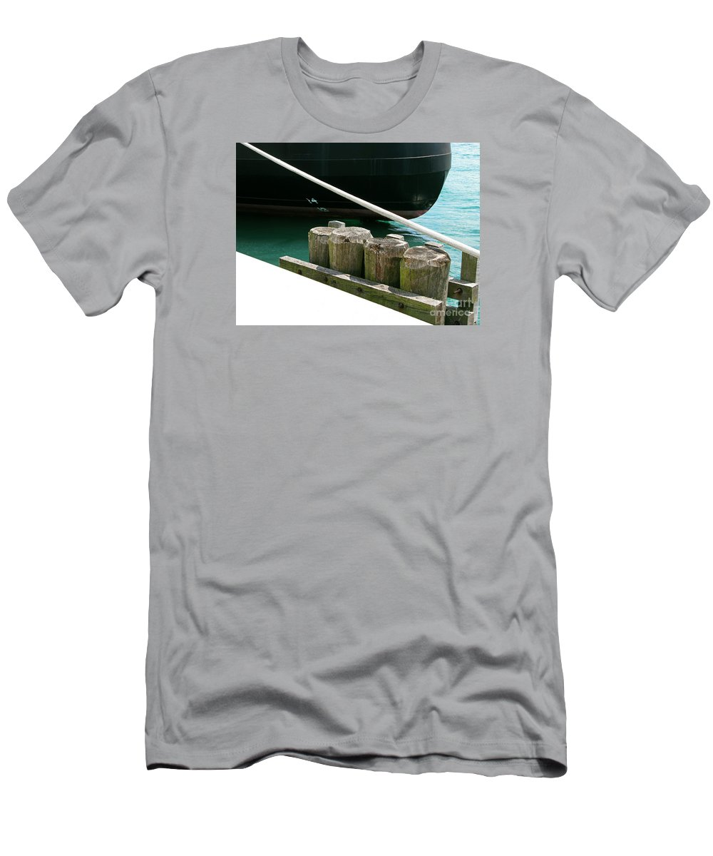 Ship Men's T-Shirt (Athletic Fit) featuring the photograph Docked by Ann Horn