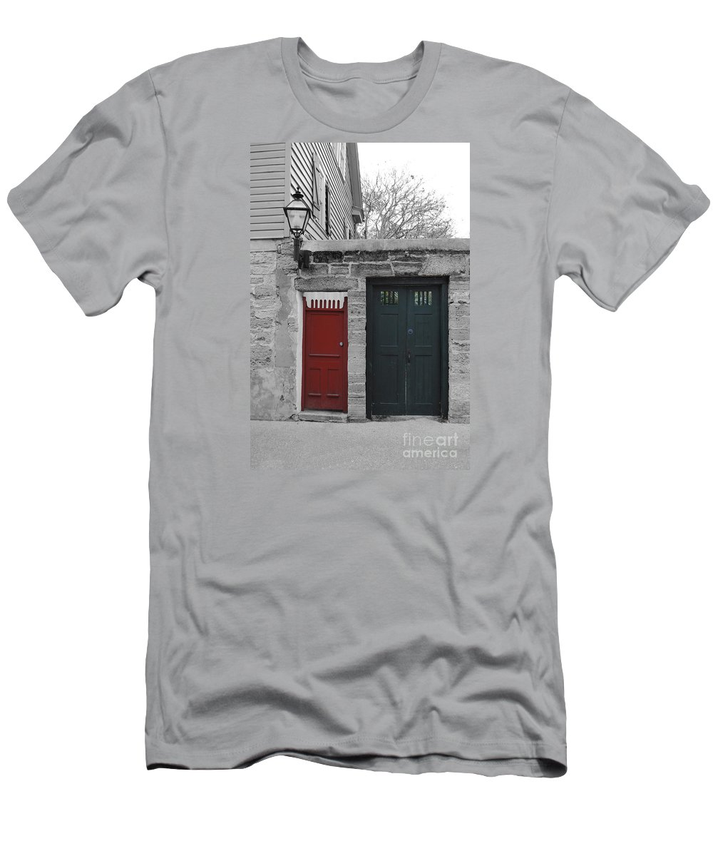 Doors Men's T-Shirt (Athletic Fit) featuring the photograph Doors Of St. Augustine by Jost Houk