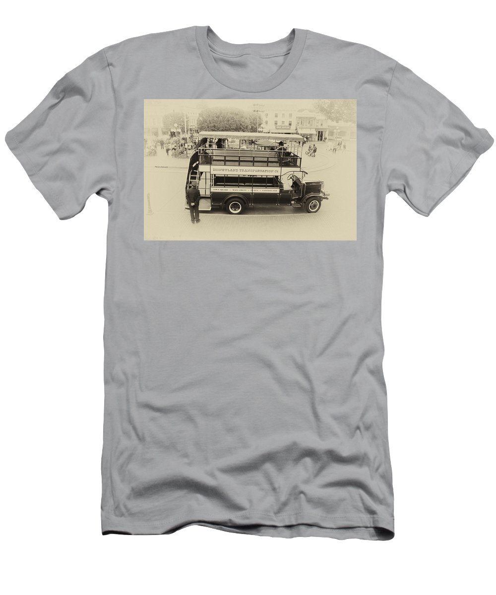 Disney Men's T-Shirt (Athletic Fit) featuring the photograph Double Decker Bus Main Street Disneyland Heirloom by Thomas Woolworth