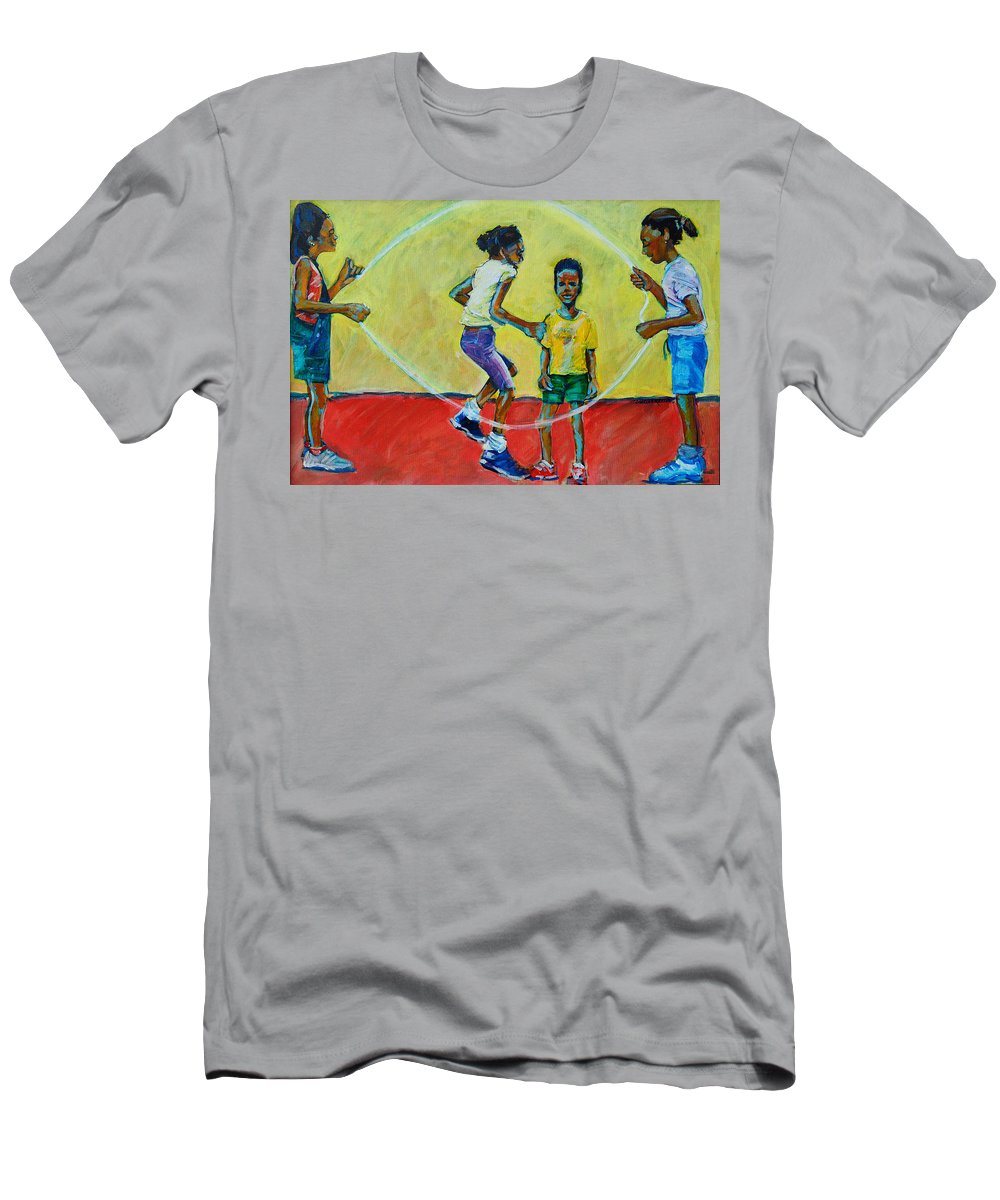 Play Men's T-Shirt (Athletic Fit) featuring the painting Double Dutch by Charles M Williams