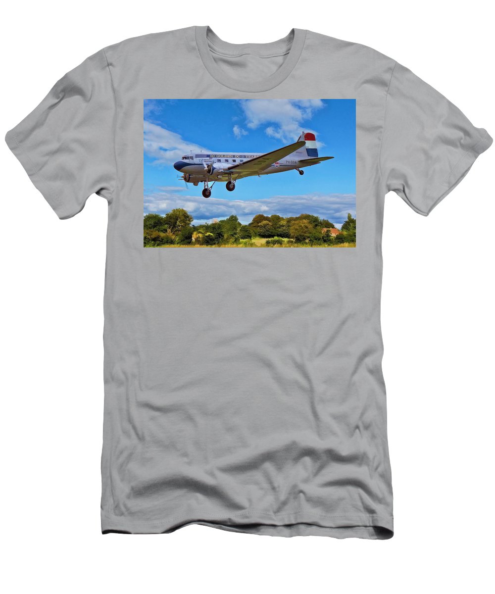 Aircraft Men's T-Shirt (Athletic Fit) featuring the digital art Douglas Dc3 by Paul Gulliver