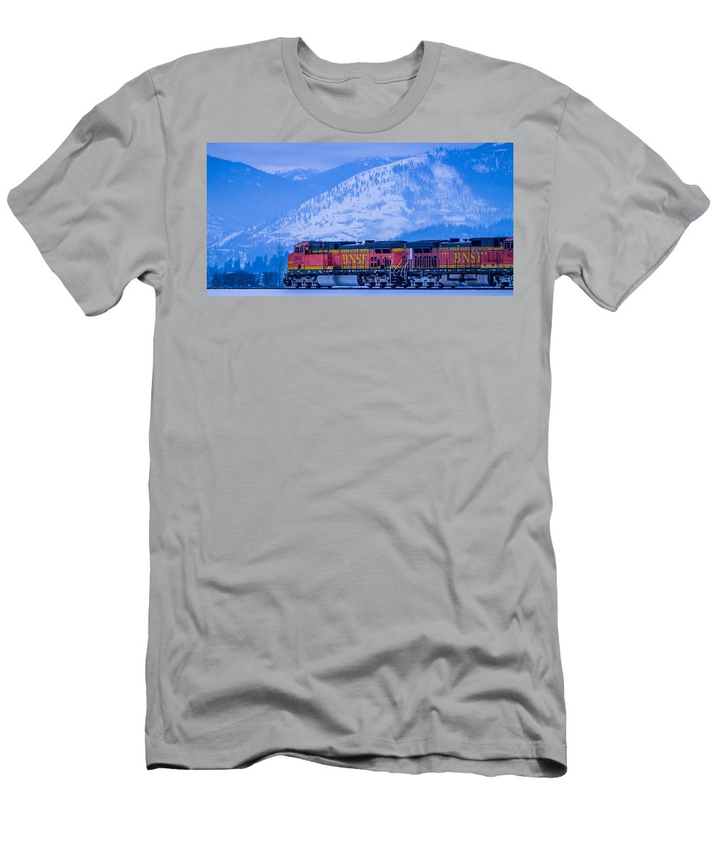 Trains Men's T-Shirt (Athletic Fit) featuring the photograph Down The Kootenai - 150111a-075 by Albert Seger