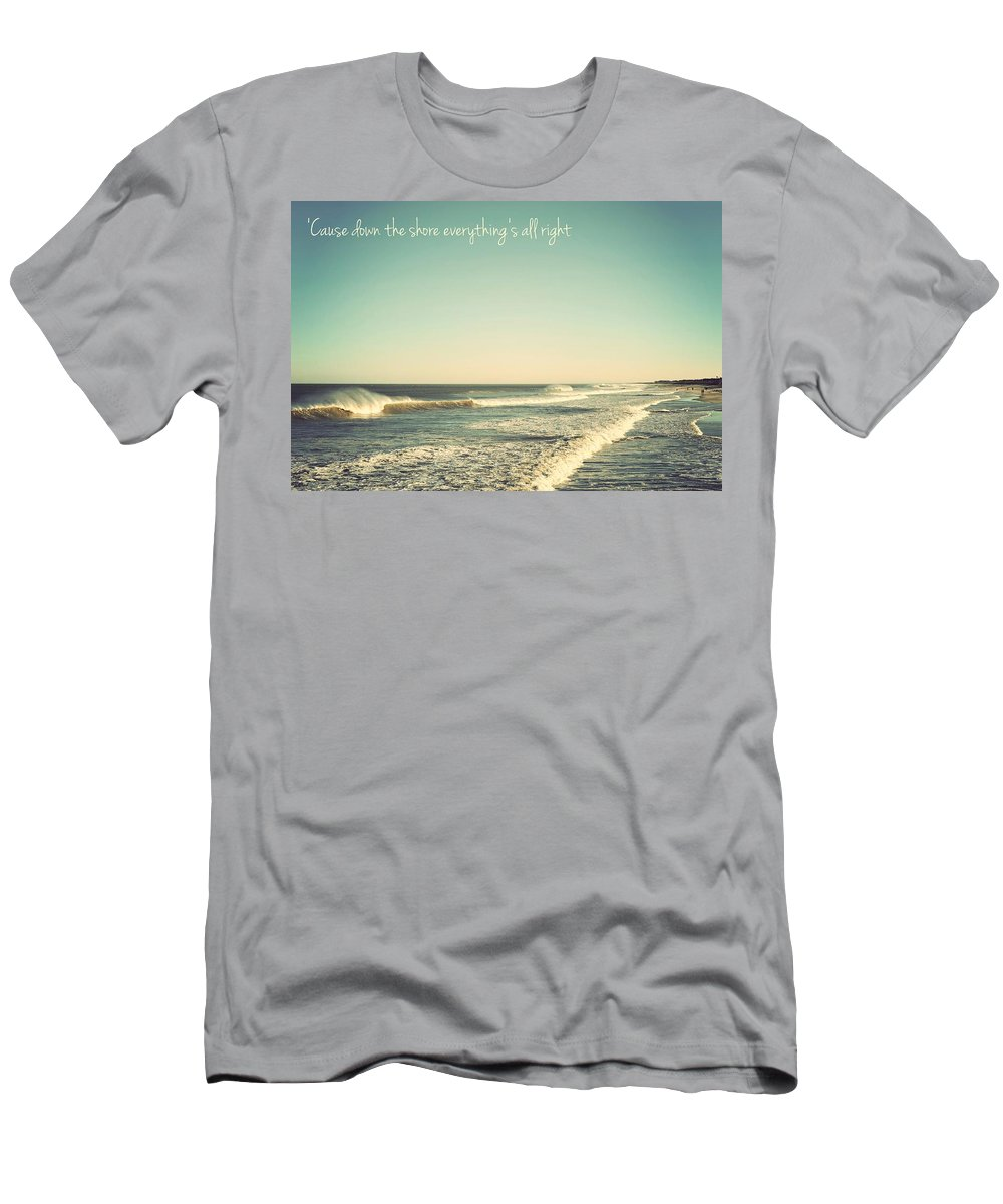 Terry Deluco Men's T-Shirt (Athletic Fit) featuring the photograph Down The Shore Seaside Heights Vintage Quote by Terry DeLuco