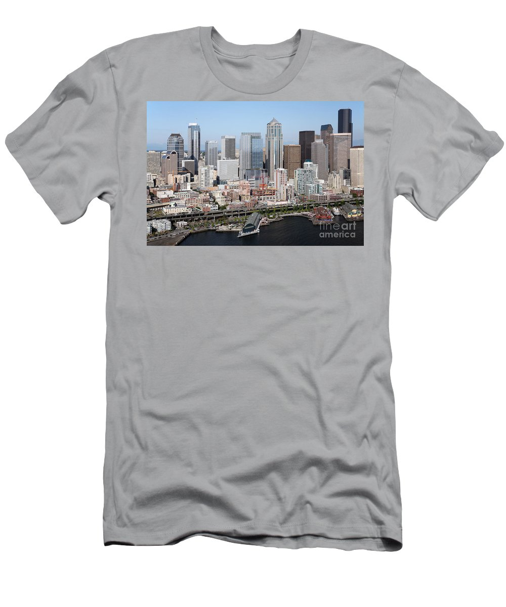 Alaskan Way Viaduct Men's T-Shirt (Athletic Fit) featuring the photograph Downtown Seattle Washington City Skyline by Bill Cobb
