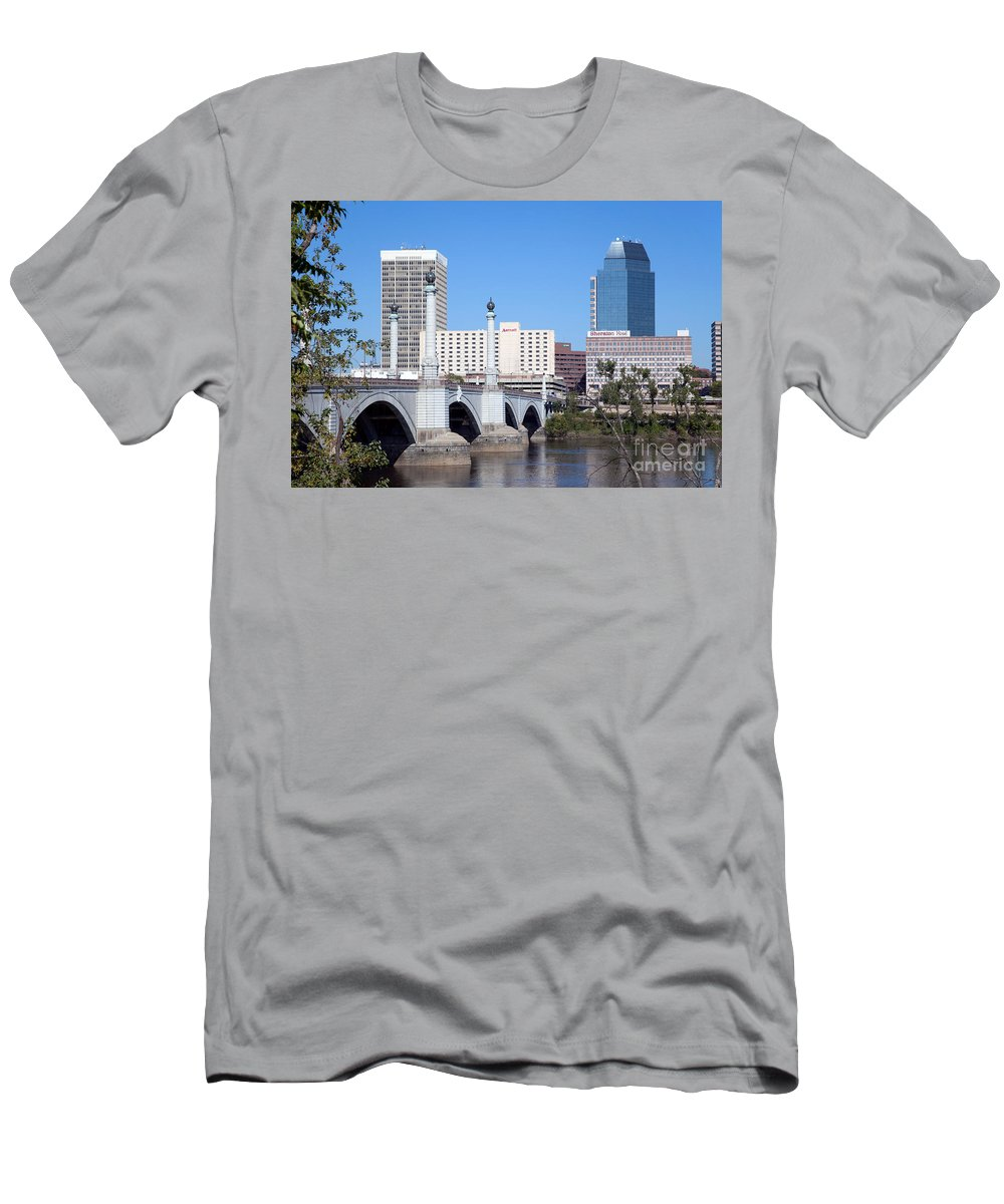 Bridge Men's T-Shirt (Athletic Fit) featuring the photograph Downtown Skyline Of Springfield Massachusetts by Bill Cobb
