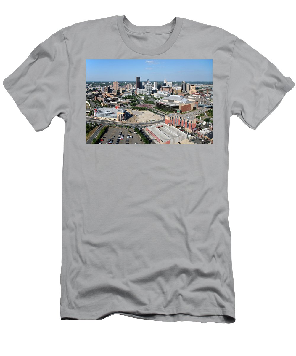 1st National Bank Men's T-Shirt (Athletic Fit) featuring the photograph Downtown Skyline Of St. Paul Minnesota by Bill Cobb
