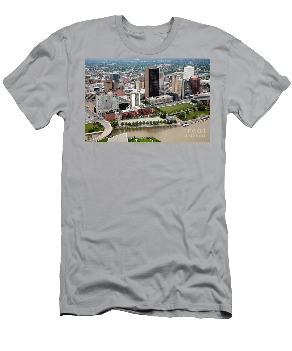 Hcr Manor Care Men's T-Shirt (Athletic Fit) featuring the photograph Downtown Skyline Of Toledo Ohio by Bill Cobb