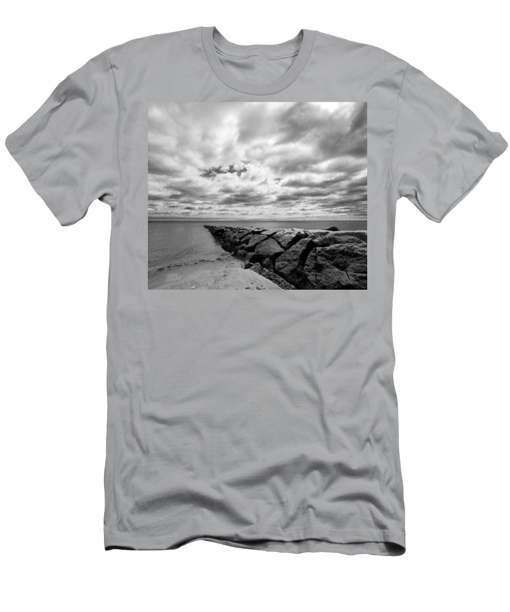 Beach Men's T-Shirt (Athletic Fit) featuring the photograph Dramatic Sky At Penfield Jetty by Stephanie McDowell