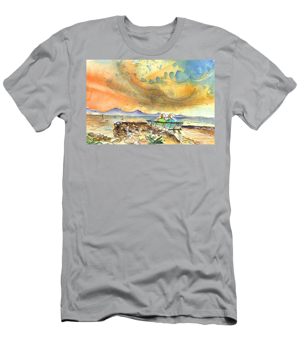 Men's T-Shirt (Athletic Fit) featuring the painting Dreaming Of Sailing In Lanzarote by Miki De Goodaboom