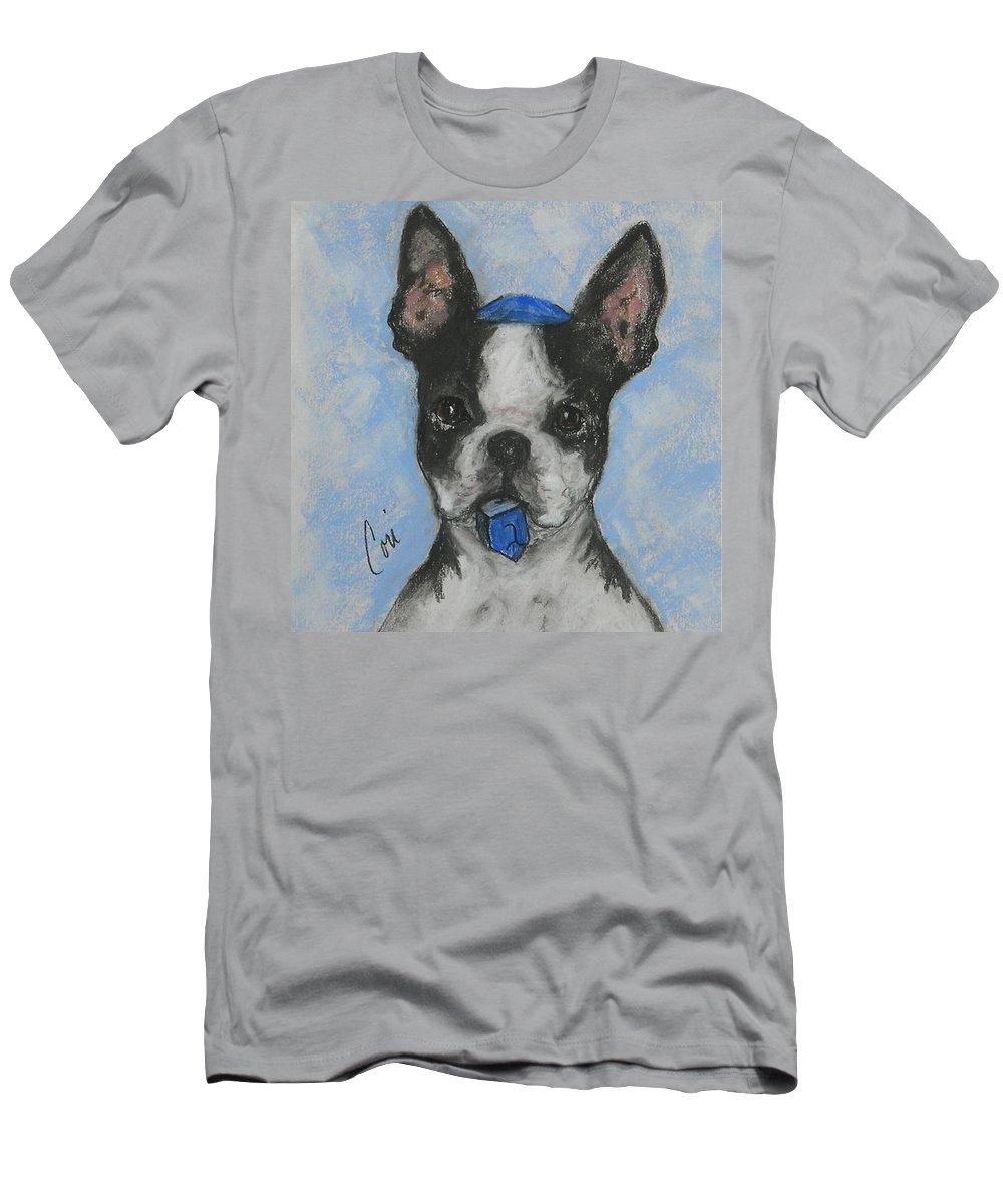 Boston Terrier Men's T-Shirt (Athletic Fit) featuring the drawing Dreideler by Cori Solomon