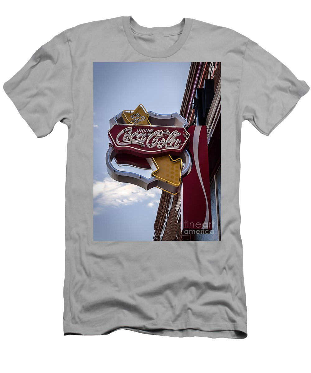 Sign Men's T-Shirt (Athletic Fit) featuring the photograph Drink Coca Cola Sign by Janice Pariza