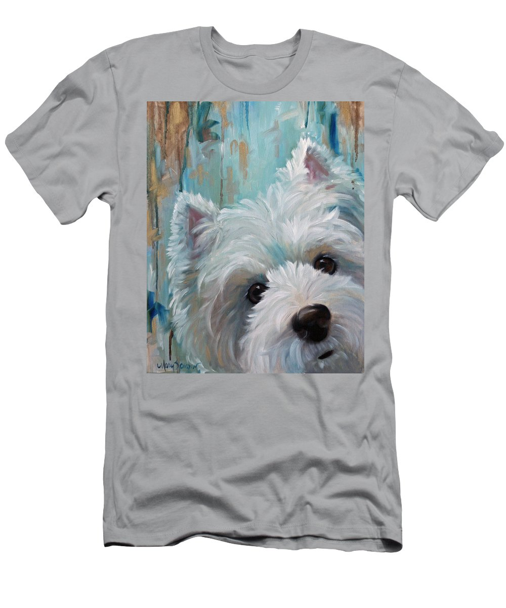 West Highland Terrier Men's T-Shirt (Athletic Fit) featuring the painting Drip by Mary Sparrow