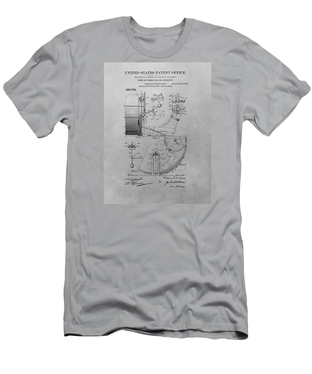 1909 Drum Patent T-Shirt featuring the drawing Drum And Cymbal Playing Apparatus by Dan Sproul