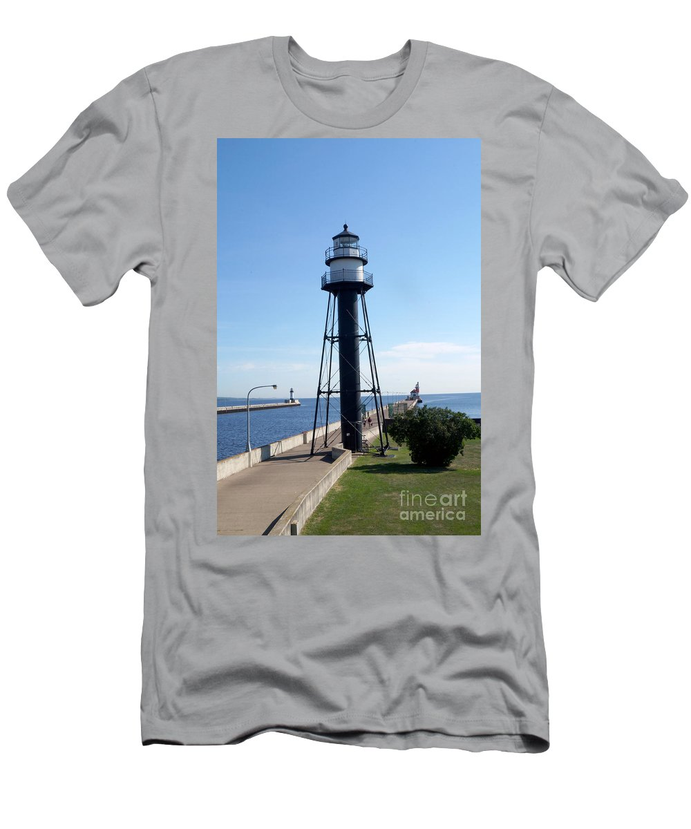 Lighthouses Men's T-Shirt (Athletic Fit) featuring the photograph Duluth Mn Lighthouses by Lori Tordsen