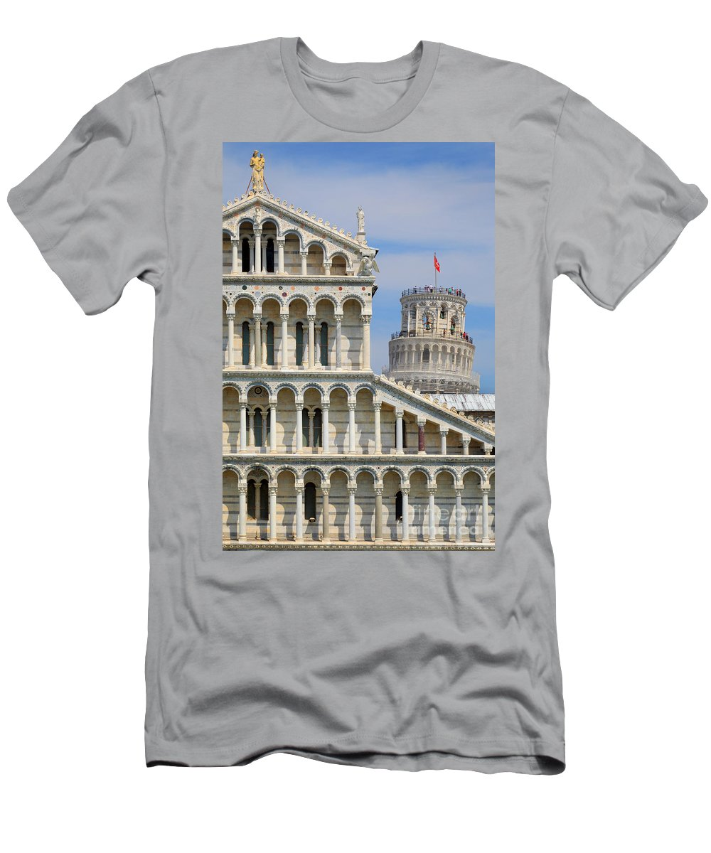 Christianity Men's T-Shirt (Athletic Fit) featuring the photograph Duomo And Campanile by Inge Johnsson