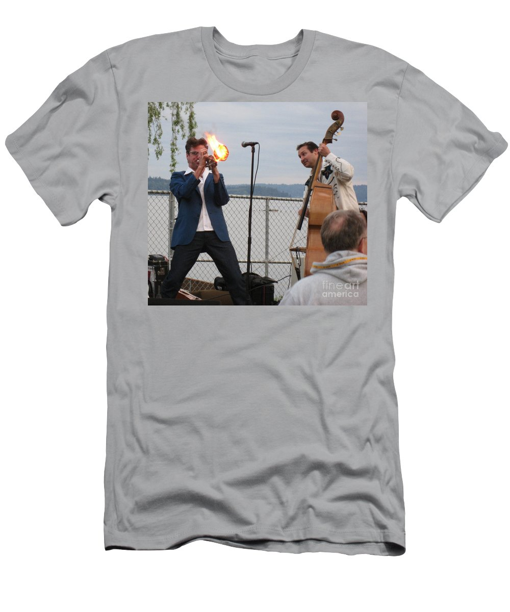 Trumpet On Fire Men's T-Shirt (Athletic Fit) featuring the photograph Dusty 45 On Fire by Kym Backland
