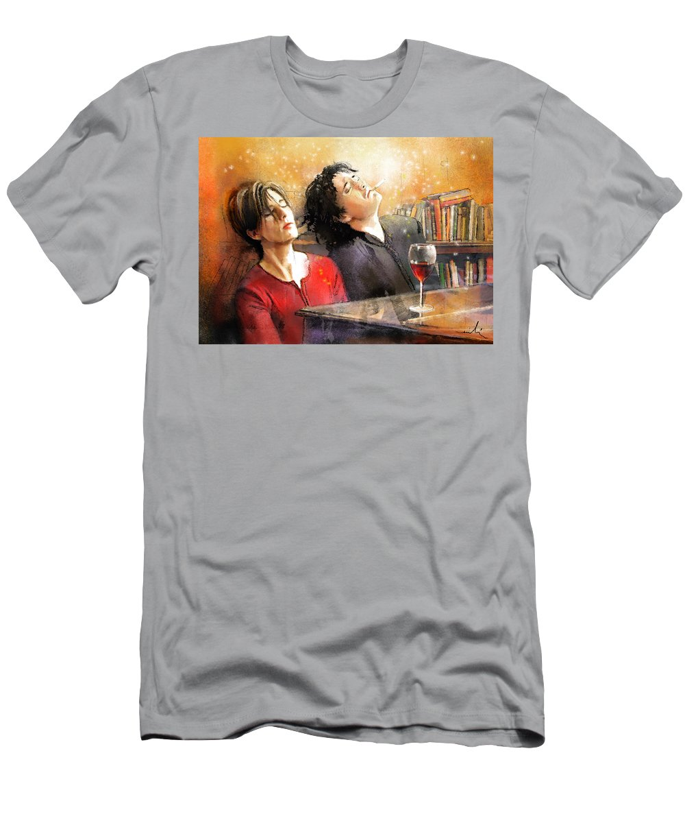 Portraits T-Shirt featuring the painting Dylan Moran and Tamsin Greig in Black Books by Miki De Goodaboom