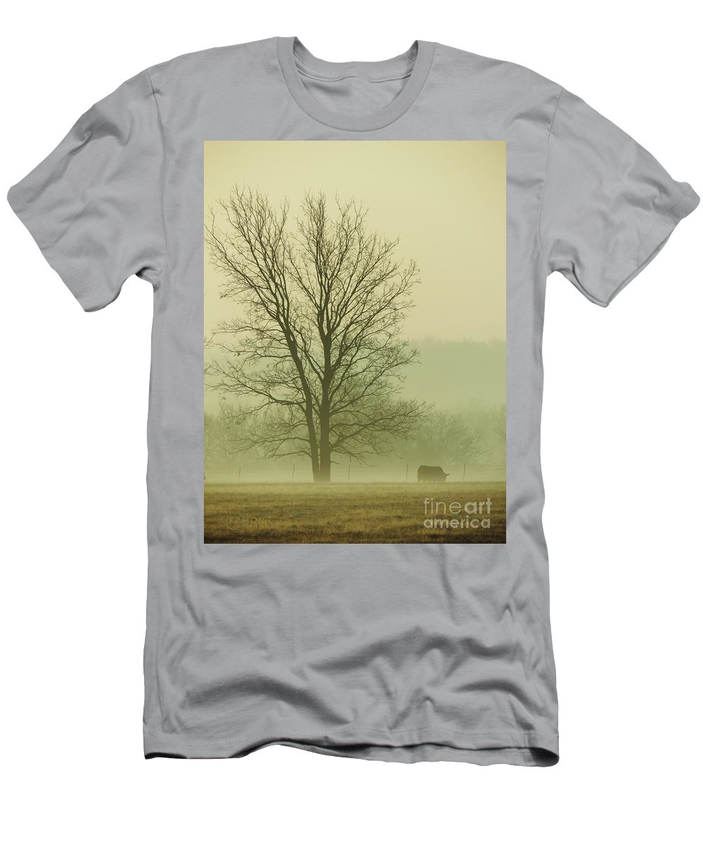 Morning Fog Men's T-Shirt (Athletic Fit) featuring the photograph Early Morning Fog 016 by Robert ONeil