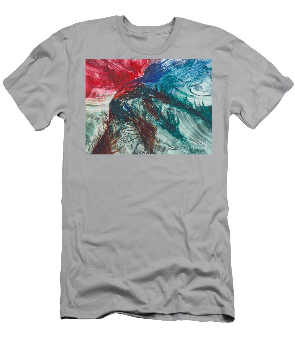 Abstract T-Shirt featuring the painting Earth Wind Fire and Ice by Shelley Jones