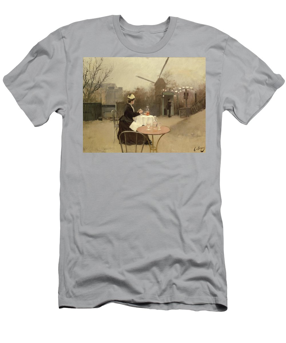 Outdoors; En Plein Air; Windmill; Table; Tables; Cafe; Bar; Drinking; Lunch; Snack; Meal; Food; French; Alone Men's T-Shirt (Athletic Fit) featuring the painting Eating Al Fresco by Ramon Casas i Carbo