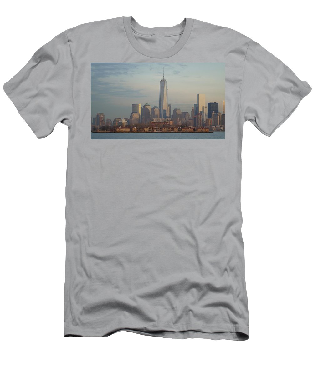 Freedom Men's T-Shirt (Athletic Fit) featuring the photograph Ellis Island And The Freedom Tower by John Wall