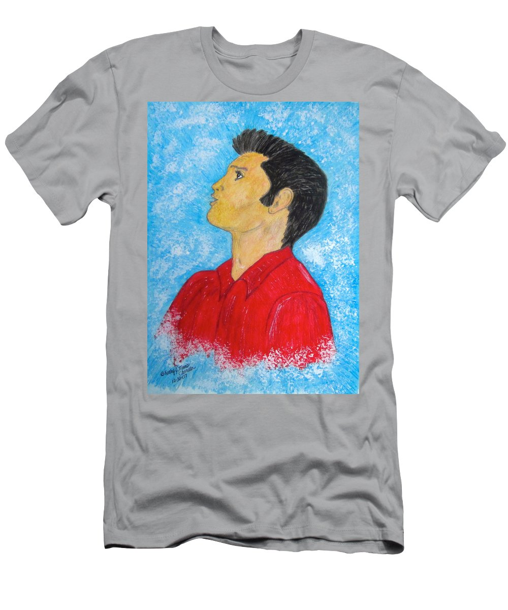 Elvis Presely T-Shirt featuring the painting Elvis Presley Singing by Kathy Marrs Chandler