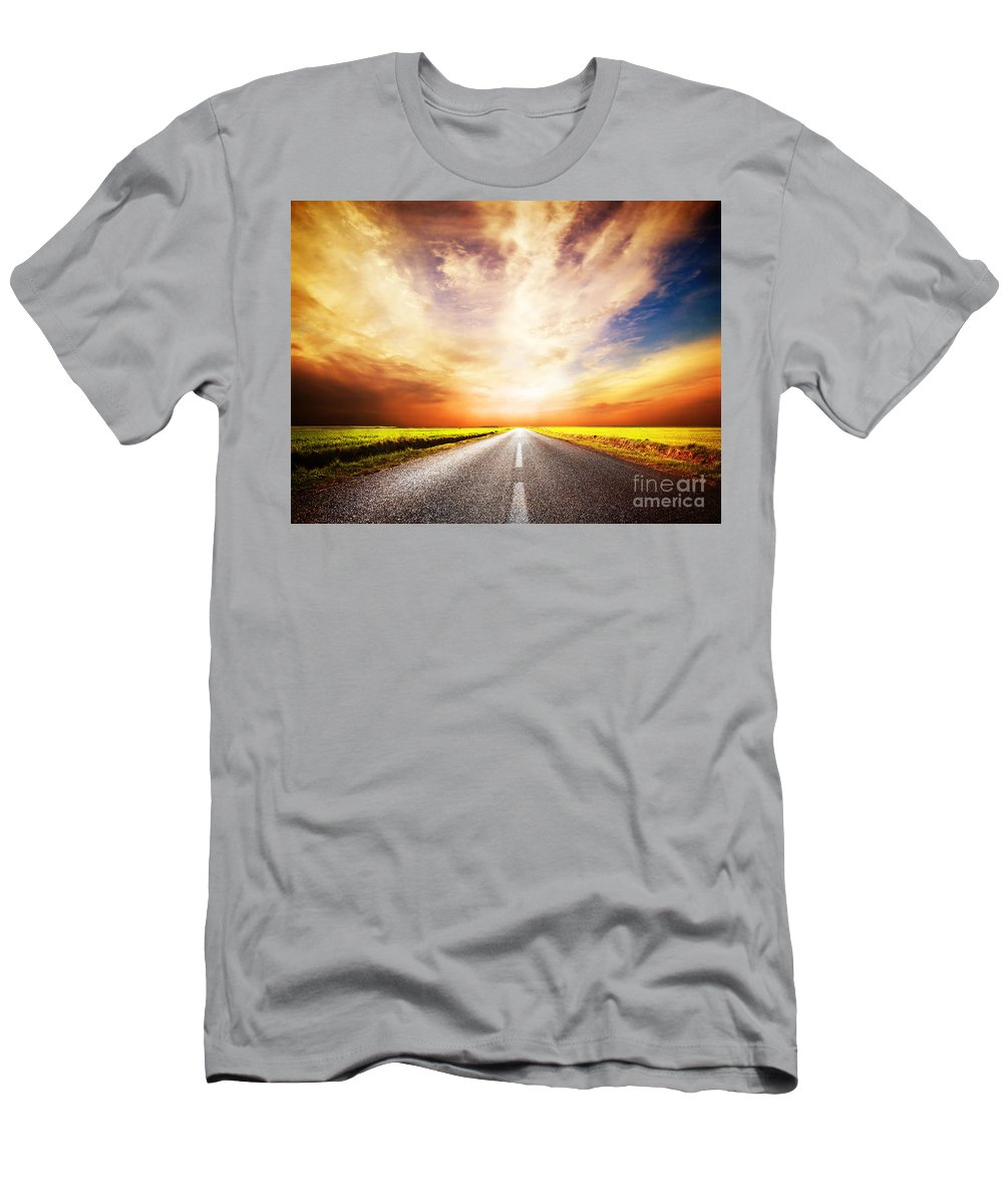 Road Men's T-Shirt (Athletic Fit) featuring the photograph Empty Asphalt Road. Sunset Sky by Michal Bednarek