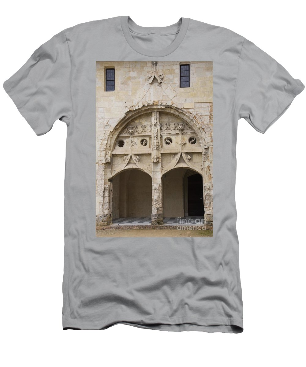 Cloister Men's T-Shirt (Athletic Fit) featuring the photograph Entrance Fontevraud Abbey- France by Christiane Schulze Art And Photography