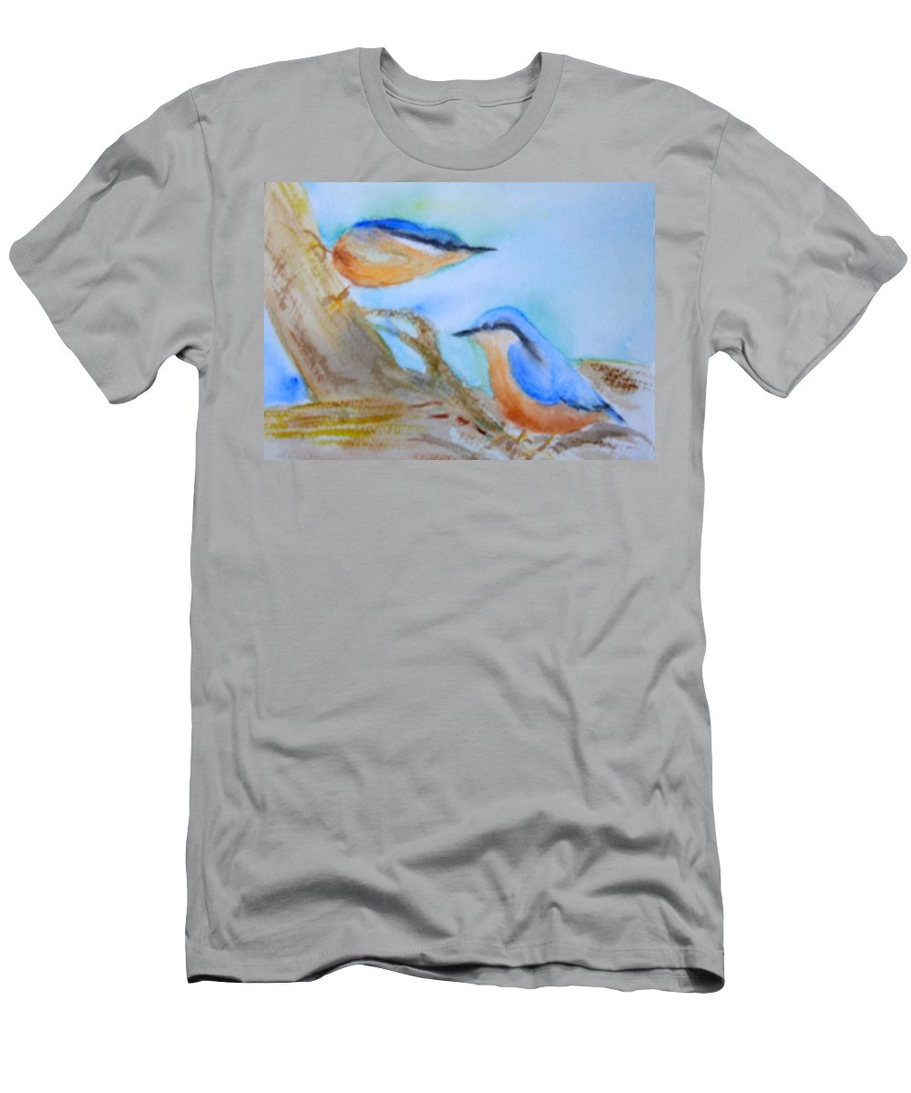 Bird Men's T-Shirt (Athletic Fit) featuring the painting Eurasian Nuthatch by Donna Walsh