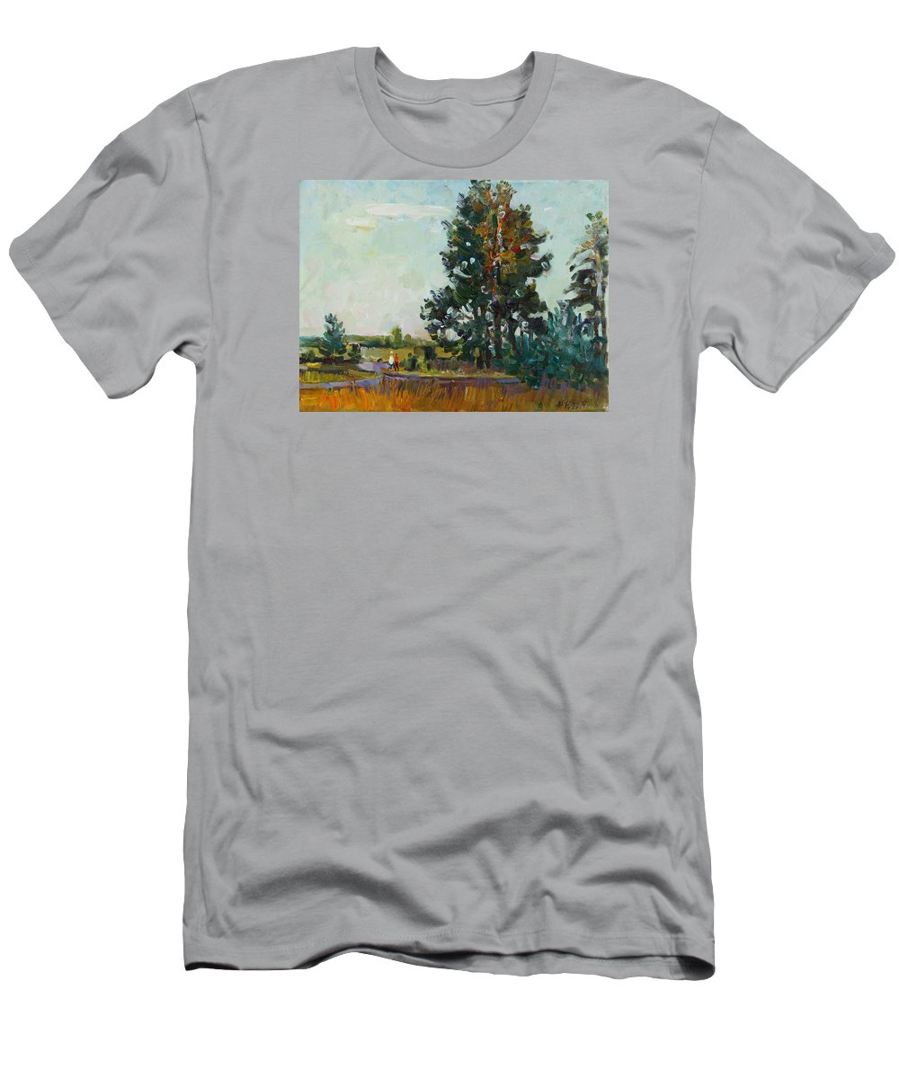 Landscape Men's T-Shirt (Athletic Fit) featuring the painting Evening At The Forest Edge by Juliya Zhukova