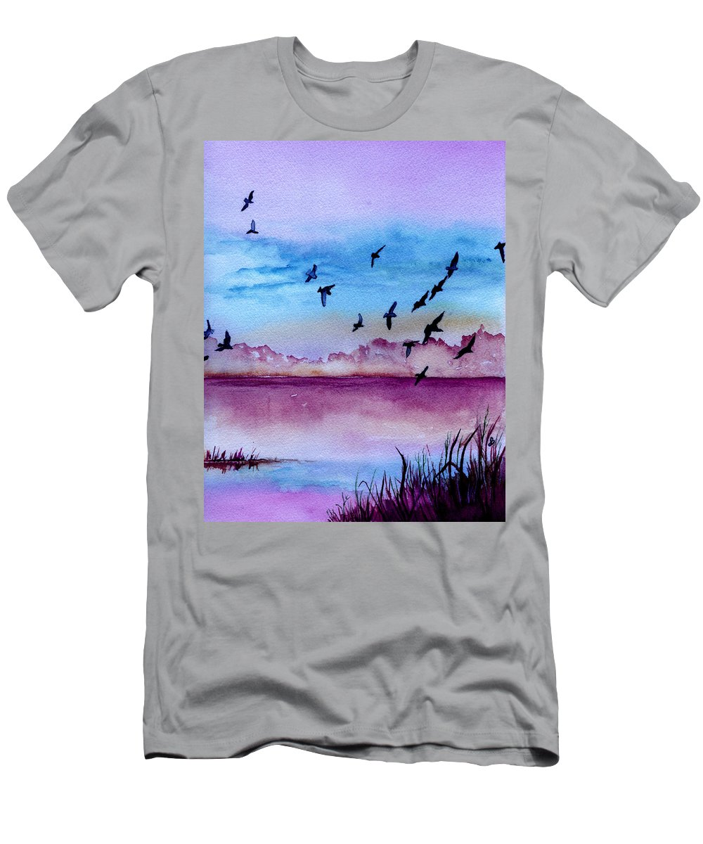 Landscape Men's T-Shirt (Athletic Fit) featuring the painting Evening Dance by Brenda Owen