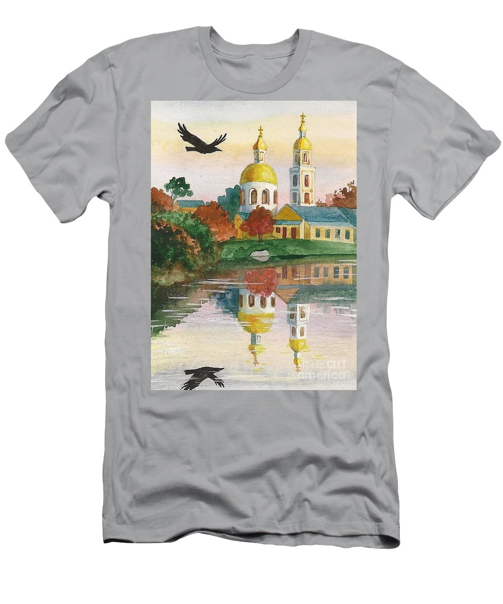Ryta Men's T-Shirt (Athletic Fit) featuring the painting Evening Gong Of The Russian Church by Margaryta Yermolayeva