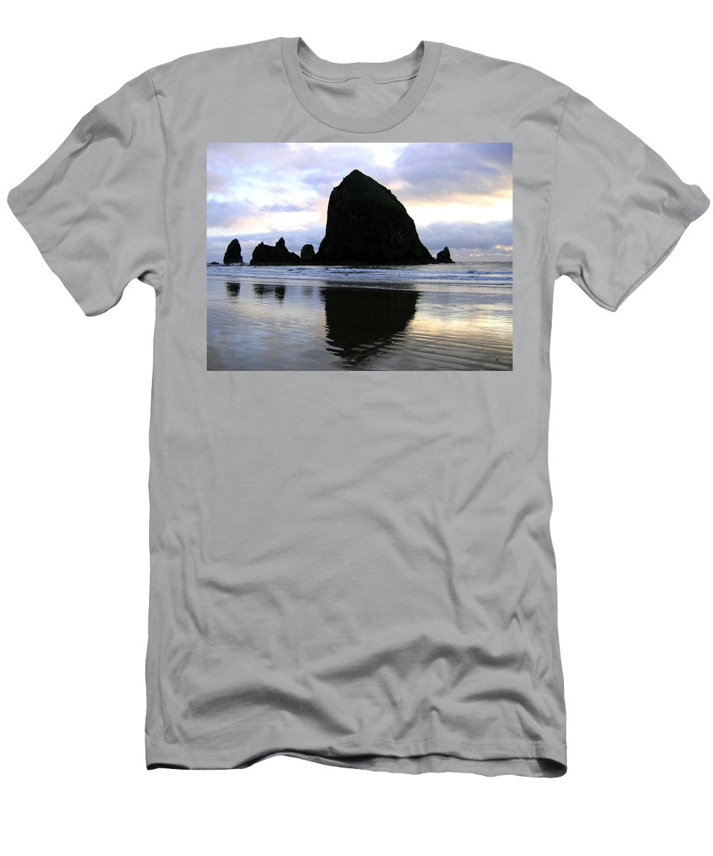 Haystack Rock T-Shirt featuring the photograph Evening Luster by Will Borden
